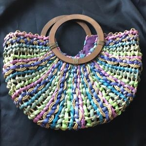 CAPPELLI Straworld Colored Purse/Bag Wood Handles